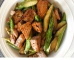 芦笋香煎三文鱼