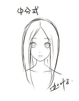 手绘刘海发型正面