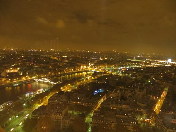 从铁塔上观看巴黎夜景,可以看到塞纳河