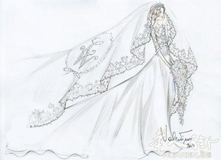 简单手绘婚纱论+�yf_69 法国谈婚论嫁 69 valentino专为各国王妃设计的婚纱手绘稿~!