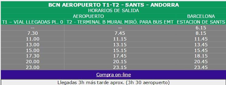 从巴塞罗那飞机场和火车站出发的大巴时刻表