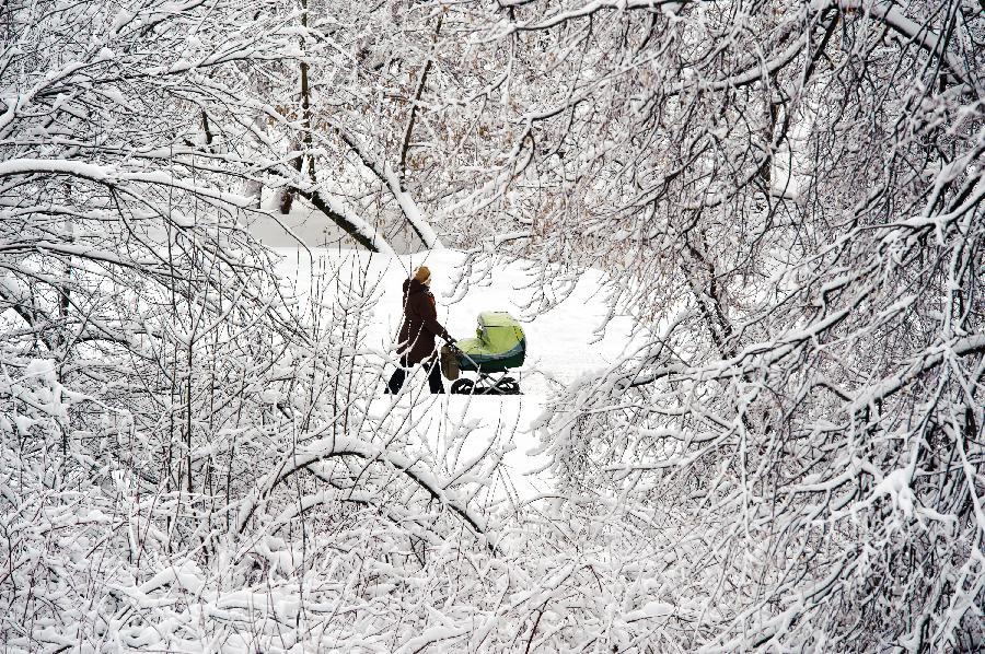 雪下在大遛孩不误