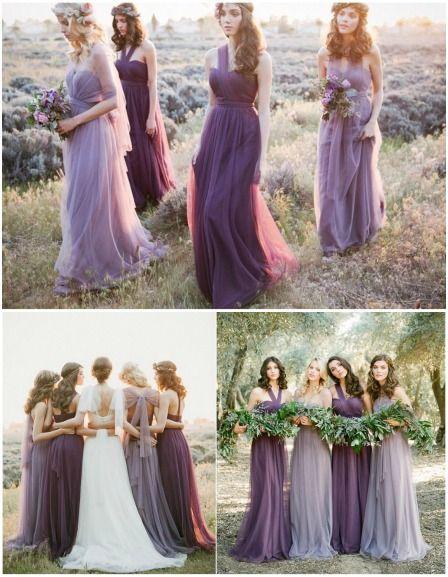 森系婚礼紫色长裙伴娘服