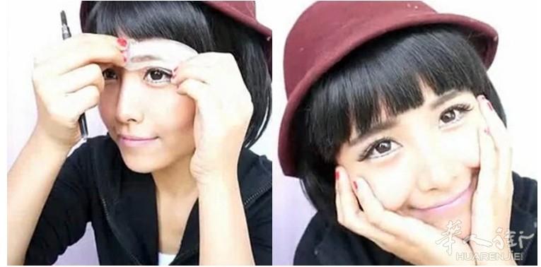 美妆小达人必备 韩国时尚流行眉卡 一字眉画眉卡图片
