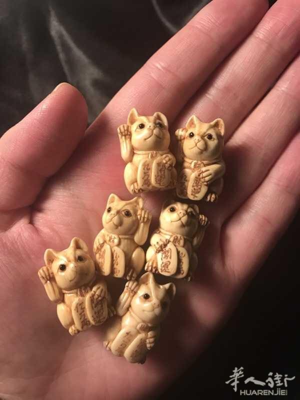 出售日本老猛犸牙雕招财猫 每个50欧元,可单买