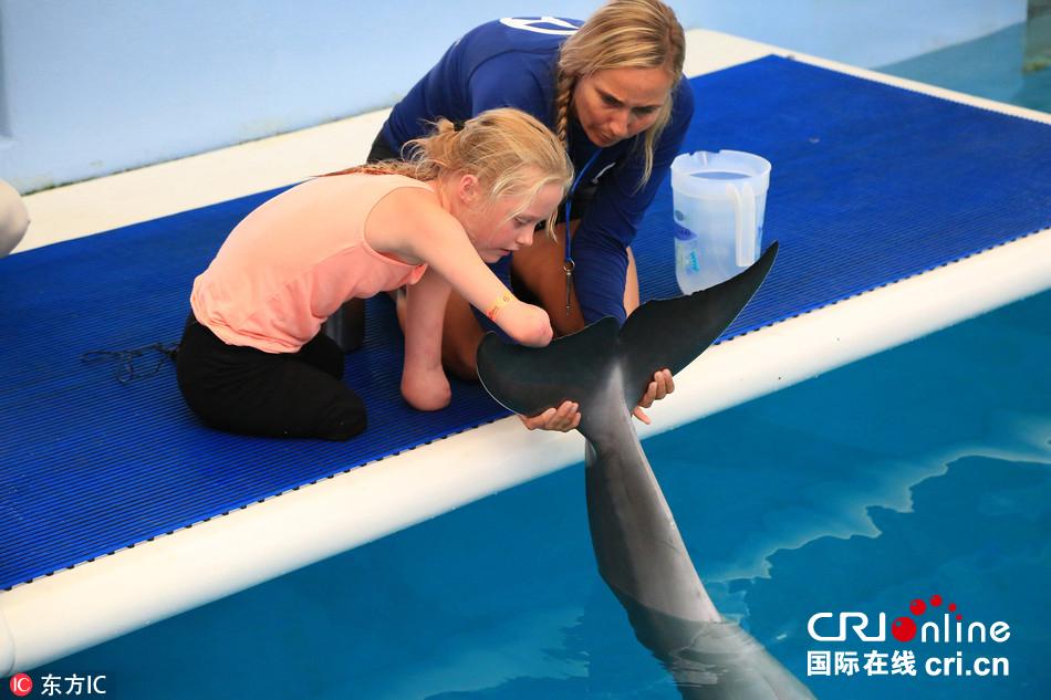 英小女孩因病失去四肢 受残疾海豚鼓励成游泳健将